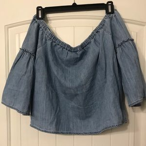 Madewell off the shoulder chambray top